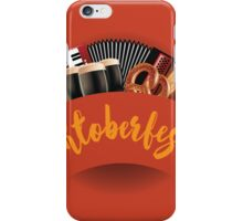 Oktoberfest design with accordion, beer, pretzel and wheat iPhone Case/Skin
