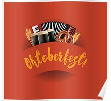 Oktoberfest design with accordion, beer, pretzel and wheat Poster
