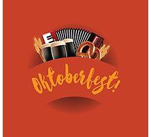 Oktoberfest design with accordion, beer, pretzel and wheat Photographic Print