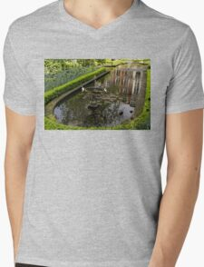 Hidden Tranquility - Beautifully Landscaped Garden with a Fountain Mens V-Neck T-Shirt