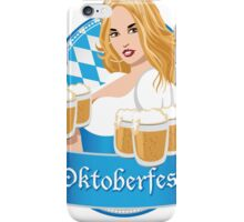 Pretty Bavarian girl with beer, Oktoberfest label with ribbon banner iPhone Case/Skin