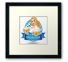 Pretty Bavarian girl with beer, Oktoberfest label with ribbon banner Framed Print
