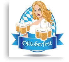 Pretty Bavarian girl with beer, Oktoberfest label with ribbon banner Canvas Print