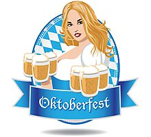 Pretty Bavarian girl with beer, Oktoberfest label with ribbon banner Photographic Print