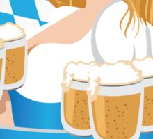 Pretty Bavarian girl with beer, Oktoberfest label with ribbon banner Sticker