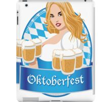 Pretty Bavarian girl with beer, Oktoberfest label with ribbon banner iPad Case/Skin