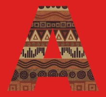 Letter A Leather Look Pattern Tribal Ethnic Monogram Initial One Piece - Short Sleeve