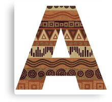 Letter A Leather Look Pattern Tribal Ethnic Monogram Initial Canvas Print