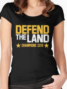 Cleveland Cavaliers CHAMPIONS 2016 DEFEND THE LAND KING JAMES LEBORN Women's Fitted Scoop T-Shirt