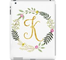 Floral and Gold Initial Monogram K iPad Case/Skin