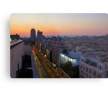 Elevated view of Gran Via, Madrid, Spain at sunset Metal Print
