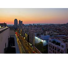 Elevated view of Gran Via, Madrid, Spain at sunset Photographic Print