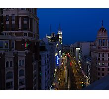 Elevated view of Gran Via, Madrid, Spain at night Photographic Print