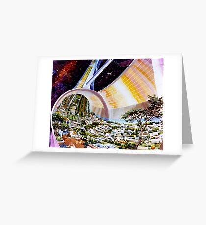 Space Colony Sci Fi Greeting Card