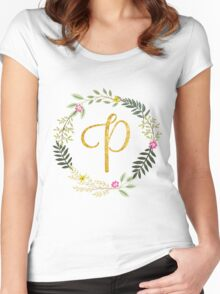 Floral and Gold Initial Monogram P Women's Fitted Scoop T-Shirt