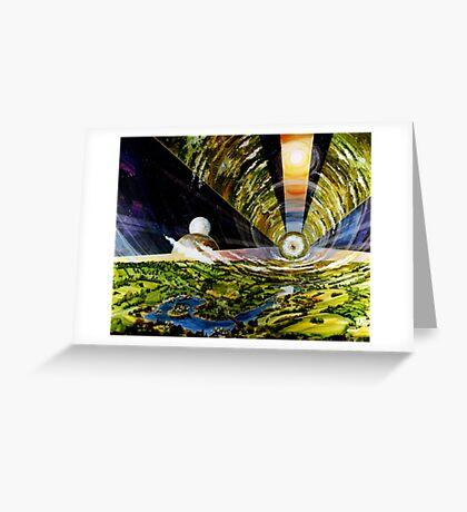 Space Colony, Cylinder Greeting Card