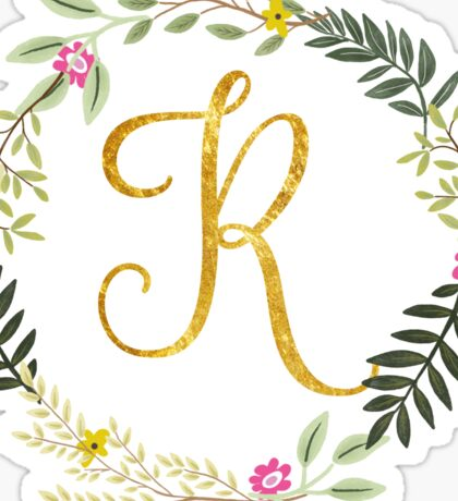 Floral and Gold Initial Monogram R Sticker