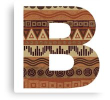 Letter B Leather Look Pattern Tribal Ethnic Monogram Initial Canvas Print