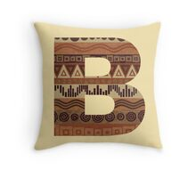 Letter B Leather Look Pattern Tribal Ethnic Monogram Initial Throw Pillow