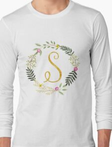Floral and Gold Initial Monogram S Long Sleeve T-Shirt