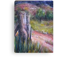 Fence Post in Flinders Ranges by Heather Holland Canvas Print