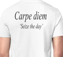 "Carpe diem, Latin, aphorism, usually translated as ""seize the day"", book 1, Roman poet Horace's work Odes (23 BC). Unisex T-Shirt"