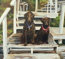 Labradors at the Lake by shellrose