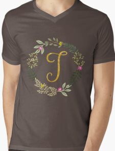 Floral and Gold Initial Monogram T Mens V-Neck T-Shirt