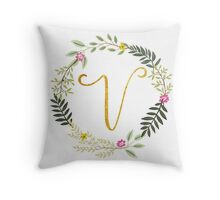 Floral and Gold Initial Monogram V Throw Pillow