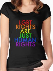 Pride/Social Messages - LGBT Rights Are Just Human Rights Women's Fitted Scoop T-Shirt