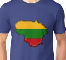 Lithuania Map With Lithuanian Flag Unisex T-Shirt