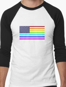 USA rainbow flag Men's Baseball ¾ T-Shirt