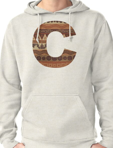 Letter C Leather Look Pattern Tribal Ethnic Monogram Initial Pullover Hoodie