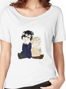 John and Sherlock Flower Crown (no background) Women's Relaxed Fit T-Shirt