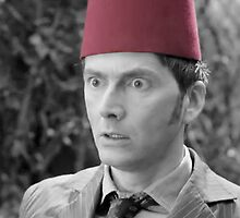 Tenth Doctor in a Fez Black and White by Themaninthefez