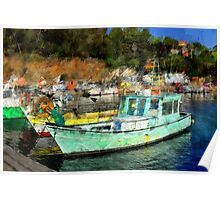 Fisher Boats in Niel Harbour Poster