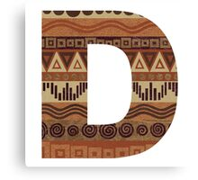 Letter D Leather Look Pattern Tribal Ethnic Monogram Initial Canvas Print