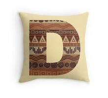 Letter D Leather Look Pattern Tribal Ethnic Monogram Initial Throw Pillow
