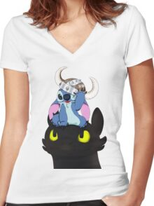 Stitch Viking Style Women's Fitted V-Neck T-Shirt