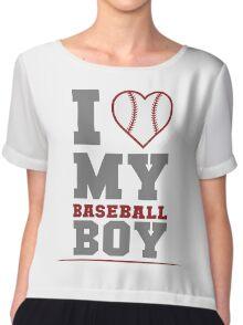 I Love My Baseball Boy Chiffon Top