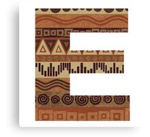 Letter E Leather Look Pattern Tribal Ethnic Monogram Initial Canvas Print