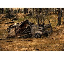 Weathered Rustic Shed and Trailer Photographic Print