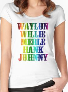 cute Waylon Jennings Willie Nelson Merle Haggard Hank Williams Johnny Cash  Women's Fitted Scoop T-Shirt