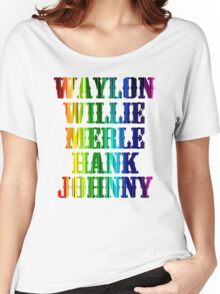 cute Waylon Jennings Willie Nelson Merle Haggard Hank Williams Johnny Cash  Women's Relaxed Fit T-Shirt