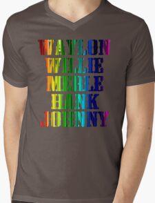 cute Waylon Jennings Willie Nelson Merle Haggard Hank Williams Johnny Cash  Mens V-Neck T-Shirt
