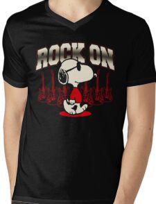 Snoopy Rock Mens V-Neck T-Shirt