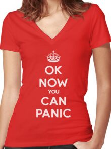 Brexit Panic Keep Calm Parody Women's Fitted V-Neck T-Shirt