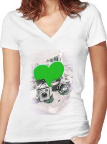 I ♥ Photography Green Women's Fitted V-Neck T-Shirt