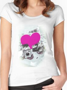 I ♥ Photography Pink Women's Fitted Scoop T-Shirt
