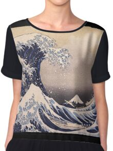 Katsushika Hokusai - The Great Wave Off the Coast of Kanagawa 19th century . Japanese Seascape Chiffon Top